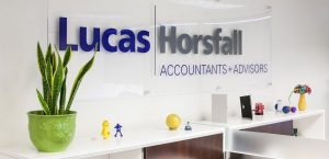 Lucas Horsfall logo in the office