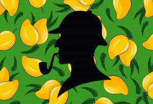 Graphic of Sherlock Holmes's silhouette over lemons